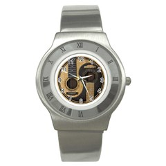 Old And Worn Acoustic Guitars Yin Yang Stainless Steel Watch by JeffBartels