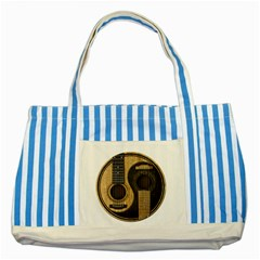 Old And Worn Acoustic Guitars Yin Yang Striped Blue Tote Bag by JeffBartels