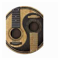 Old And Worn Acoustic Guitars Yin Yang Small Garden Flag (two Sides) by JeffBartels