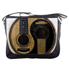 Old And Worn Acoustic Guitars Yin Yang Messenger Bags by JeffBartels