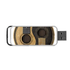 Old And Worn Acoustic Guitars Yin Yang Portable Usb Flash (two Sides) by JeffBartels