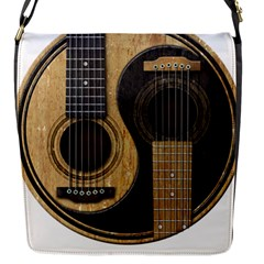 Old And Worn Acoustic Guitars Yin Yang Flap Messenger Bag (s) by JeffBartels