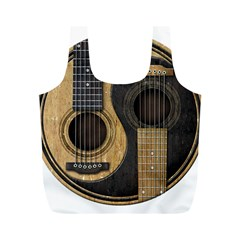 Old And Worn Acoustic Guitars Yin Yang Full Print Recycle Bags (m)  by JeffBartels