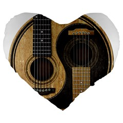 Old And Worn Acoustic Guitars Yin Yang Large 19  Premium Flano Heart Shape Cushions by JeffBartels