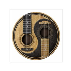 Old And Worn Acoustic Guitars Yin Yang Small Satin Scarf (square)