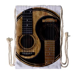 Old And Worn Acoustic Guitars Yin Yang Drawstring Bag (large) by JeffBartels