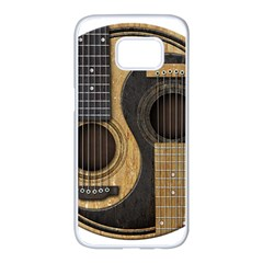 Old And Worn Acoustic Guitars Yin Yang Samsung Galaxy S7 Edge White Seamless Case by JeffBartels