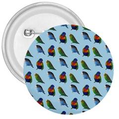 Blue Birds Parrot Pattern 3  Buttons by paulaoliveiradesign