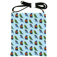 Blue Birds Parrot Pattern Shoulder Sling Bags by paulaoliveiradesign