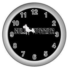 Bull Terrier  Wall Clocks (silver)  by Valentinaart