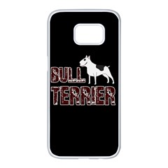 Bull Terrier  Samsung Galaxy S7 Edge White Seamless Case by Valentinaart