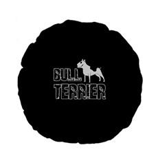 Bull Terrier  Standard 15  Premium Flano Round Cushions by Valentinaart
