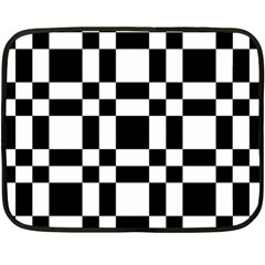 Checkerboard Black And White Double Sided Fleece Blanket (mini)  by Colorfulart23