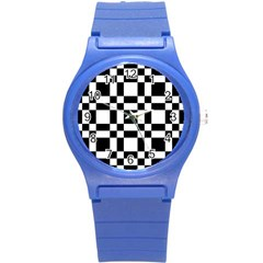 Checkerboard Black And White Round Plastic Sport Watch (s) by Colorfulart23