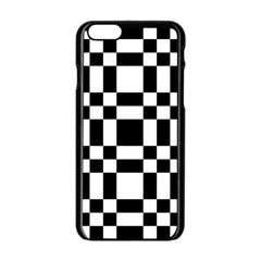 Checkerboard Black And White Apple Iphone 6/6s Black Enamel Case by Colorfulart23
