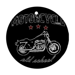 Motorcycle Old School Round Ornament (two Sides) by Valentinaart