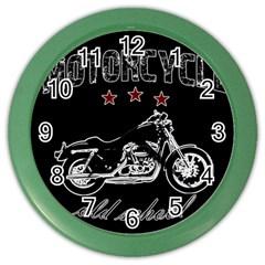 Motorcycle Old School Color Wall Clocks by Valentinaart