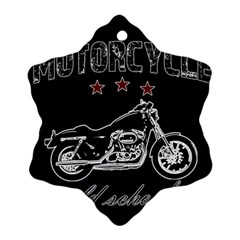 Motorcycle Old School Snowflake Ornament (two Sides) by Valentinaart