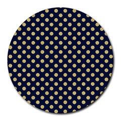 Navy/gold Polka Dots Round Mousepads by Colorfulart23