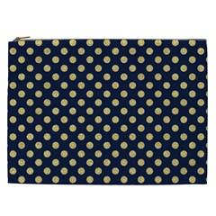 Navy/gold Polka Dots Cosmetic Bag (xxl)  by Colorfulart23