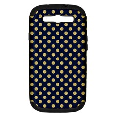 Navy/gold Polka Dots Samsung Galaxy S Iii Hardshell Case (pc+silicone) by Colorfulart23