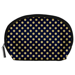 Navy/gold Polka Dots Accessory Pouches (large)  by Colorfulart23