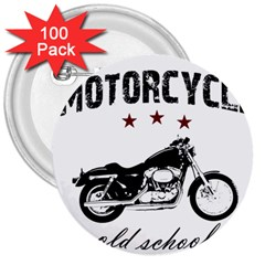 Motorcycle Old School 3  Buttons (100 Pack)  by Valentinaart