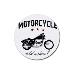 Motorcycle Old School Rubber Round Coaster (4 Pack)  by Valentinaart