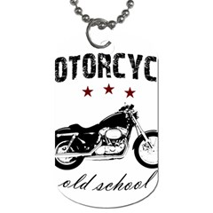 Motorcycle Old School Dog Tag (two Sides) by Valentinaart