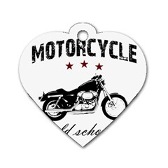 Motorcycle Old School Dog Tag Heart (one Side) by Valentinaart