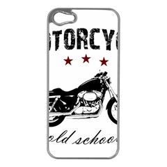 Motorcycle Old School Apple Iphone 5 Case (silver) by Valentinaart