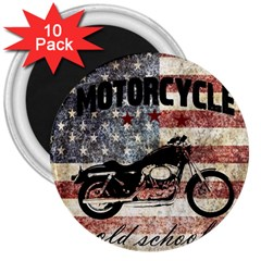 Motorcycle Old School 3  Magnets (10 Pack)  by Valentinaart