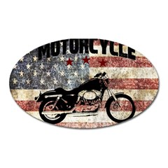 Motorcycle Old School Oval Magnet by Valentinaart