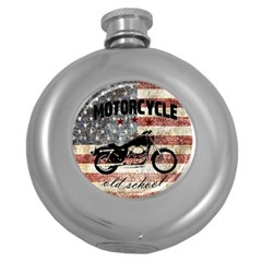Motorcycle Old School Round Hip Flask (5 Oz) by Valentinaart