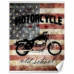 Motorcycle Old School Canvas 12  X 16   by Valentinaart