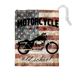 Motorcycle Old School Drawstring Pouches (extra Large) by Valentinaart