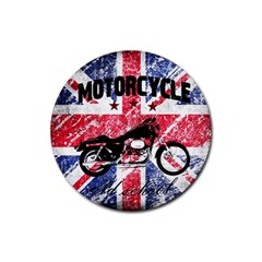 Motorcycle Old School Rubber Coaster (round)  by Valentinaart