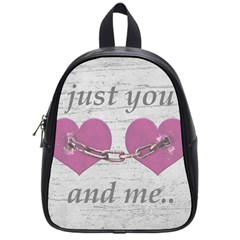 Shabby Chich Love Concept Poster School Bags (small)  by dflcprints