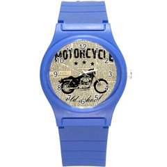 Motorcycle Old School Round Plastic Sport Watch (s) by Valentinaart