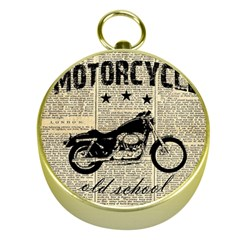 Motorcycle Old School Gold Compasses by Valentinaart