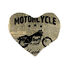 Motorcycle Old School Standard 16  Premium Flano Heart Shape Cushions by Valentinaart