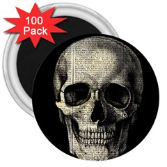 Newspaper Skull 3  Magnets (100 Pack) by Valentinaart