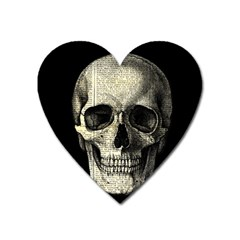Newspaper Skull Heart Magnet by Valentinaart