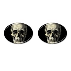 Newspaper Skull Cufflinks (oval) by Valentinaart