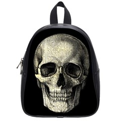 Newspaper Skull School Bags (small)  by Valentinaart