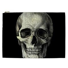 Newspaper Skull Cosmetic Bag (xxl)  by Valentinaart