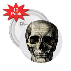 Newspaper Skull 2 25  Buttons (10 Pack)  by Valentinaart