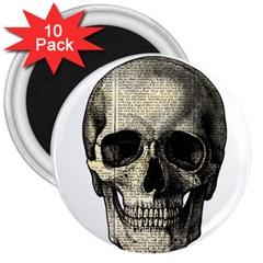 Newspaper Skull 3  Magnets (10 Pack)  by Valentinaart