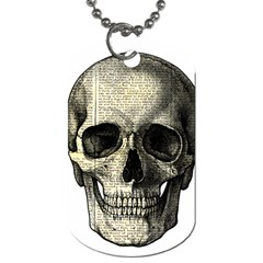 Newspaper Skull Dog Tag (two Sides) by Valentinaart