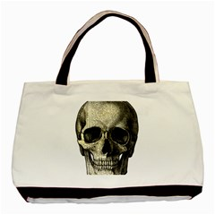 Newspaper Skull Basic Tote Bag (two Sides) by Valentinaart